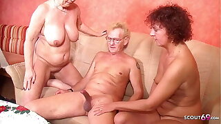 German GILF Seduce Mature Step Sister to Threesome Sex with old Husband