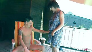 Crazy Stepson Seduces German Mommy to Fuck on Balcony